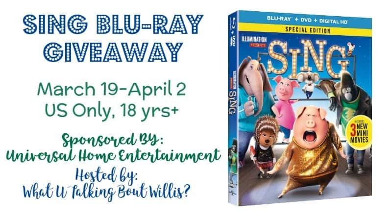 SING Blu-ray Giveaway! (ending 4/2)