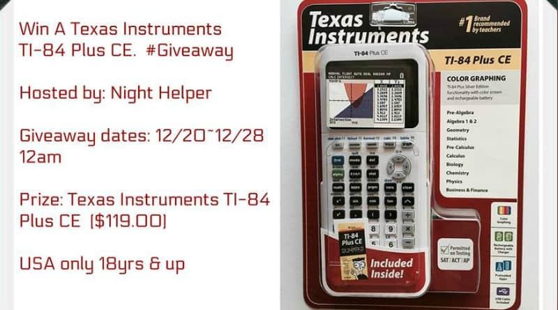 Enter to Win A Texas Instruments TI-84 Plus CE (arv$119.00)